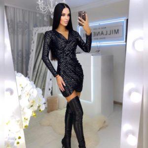 Купить по скидке женское вечернее платье мини с пайетками черного цвета онлайн