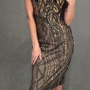 Заказать золотое женское вечернее платье с пайетками на сетке по скидке