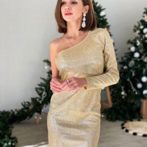 Купить в интернете недорого женское трикотажное платье на одно плечо с блестящим напылением золотого цвета