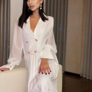 Замовити біле жіноче плаття плісе з довгим рукавом за низькими цінами