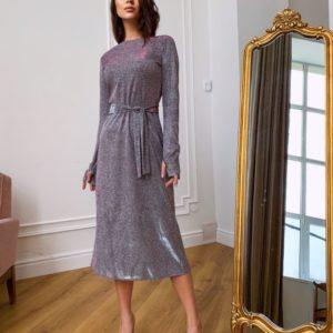 Купить серое платье хамелеон длины миди с длинным рукавом для женщин онлайн