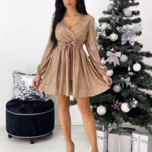 Заказать женское золотое трикотажное платье из люрекса с поясом (размер 42-48) в интернете