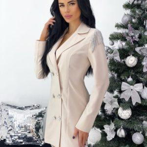 Заказать цвета пудра женское платье-пиджак с бахромой на плечах (размер 42-48) выгодно