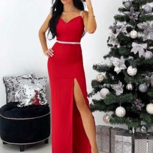 Заказать красного цвета женское вечернее платье в пол с разрезом онлайн