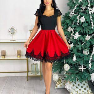 Заказать женское красное платье с отделкой из французского кружева дешево (размер 42-48)