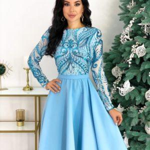 Заказать голубое женское платье с узорами с юбкой солнце (размер 42-48) онлайн