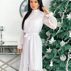 Приобрести белое нежное платье в структурный горошек с поясом (размер 42-48) для женщин онлайн