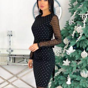 Купить черное женское Вечернее платье с завязкой сзади (размер 42-48) онлайн