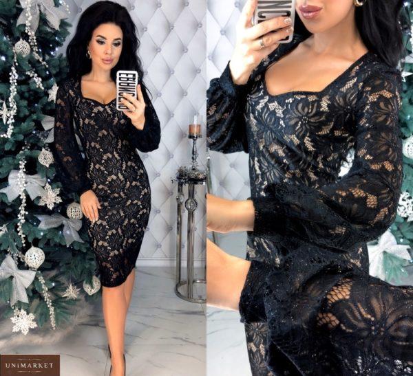 Заказать кружевное черное платье с напылением и длинным рукавом выгодно для женщин