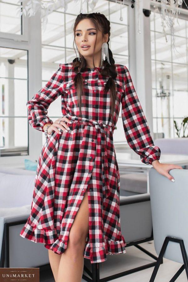 Купить красное шерстяное платье-рубашка онлайн в клетку (размер 42-48) женское