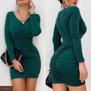 Купить зеленое вечернее платье женское с люрексом с вертикальной сборкой (размер 42-48) онлайн