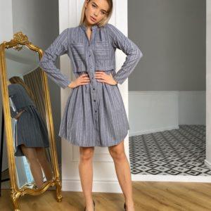 Приобрести голубого цвета платье-рубашка из тёплой шерсти для женщин на кнопках (размер 42-48) дешево