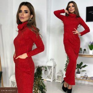 Приобрести красное женское длинное платье гольф из ангоры онлайн