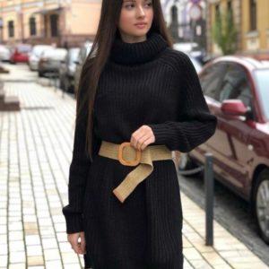 Придбати чорне жіноче в'язане плаття з об'ємним коміром по знижці на зиму і осінь