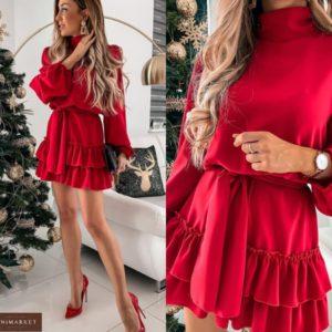 Заказать красное закрытое платье с рюшами и длинным рукавом для женщин (размер 42-50) онлайн