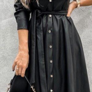 Купить по скидке женское платье-рубашка из эко кожи длины миди (размер 42-50) черного цвета