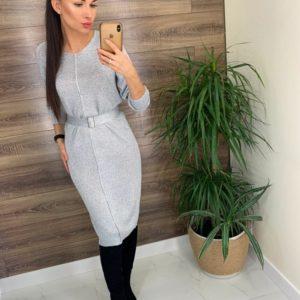 Приобрести серебристое вязаное платье с люрексом и поясом для женщин онлайн