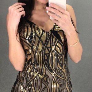 Приобрести в интернете золотое вечернее платье с пайетками на сетке для женщин
