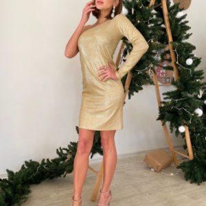 Заказать золотое женское трикотажное платье на одно плечо с блестящим напылением недорого