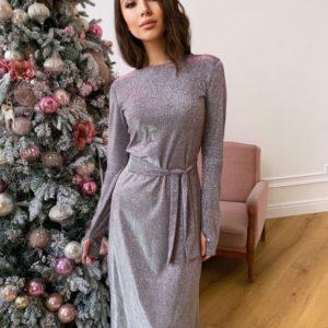 Приобрести серо/розовое женское платье хамелеон длины миди с длинным рукавом в интернете