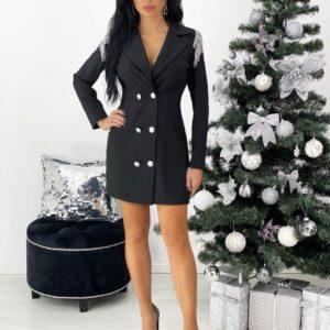 Заказать женское черное платье-пиджак с бахромой на плечах (размер 42-48) по скидке