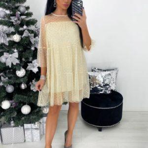Заказать женское беж платье мини с сеткой в горошек онлайн