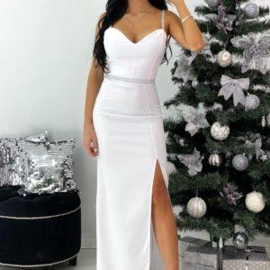 Заказать женское белого цвета вечернее платье в пол с разрезом недорого