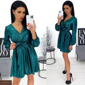 Приобрести в интернете изумрудное вечернее платье с блестящим напылением (размер 42-48) выгодно для женщин