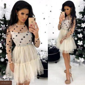 Приобрести белое воздушное платье мини женское со звездами онлайн
