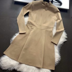 Замовити бежеве трикотажне плаття міні з рукавом 3/4 в інтернеті для жінок