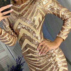 Приобрести золотое платье с графичными полосками женское из пайеток онлайн