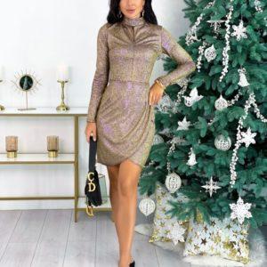 Заказать золотое женское трикотажное закрытое платье с люрексом (размер 42-48) онлайн