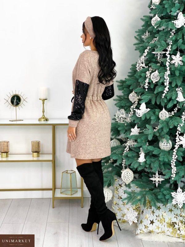 Заказать женское платье кофейного цвета из двухсторонней ангоры с пайетками+повязка (размер 42-48) недорого