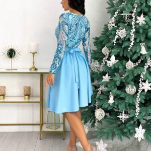 Приобрести голубое платье с узорами с юбкой солнце (размер 42-48) для женщин выгодно