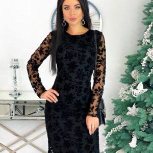 Приобрести черное элегантное платье с узорами для женщин на сетке (размер 42-48) дешево
