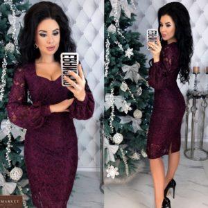 Купить по скидке марсала кружевное платье с напылением и длинным рукавом для женщин на корпоратив