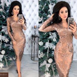 Купить бежевое женское Вечернее кружевное платье с сеткой по скидке
