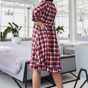 Заказать красного цвета шерстяное платье-рубашка в клетку (размер 42-48) по скидке для женщин
