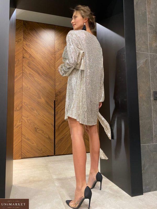 Заказать женское цвета ваниль платье в пайетках оверсайз (размер 42-48) по скидке