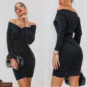 Купить женское вечернее платье с люрексом с вертикальной сборкой черного цвета (размер 42-48) дешево