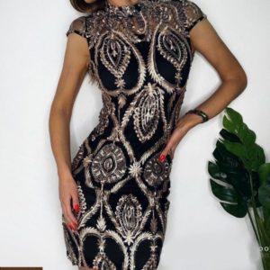 Заказать женское черное платье расшитое шелковой нитью и пайеткой онлайн