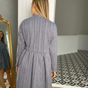 Купить женское платье-рубашка из тёплой шерсти на кнопках голубого цвета (размер 42-48) в Украине