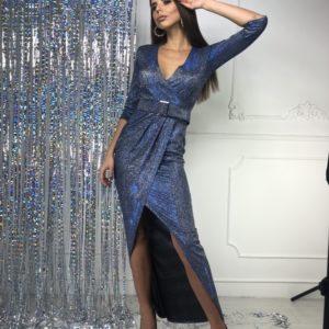 Приобрести по скидке синее платье в пол из люрекса хамелеон женское на праздник