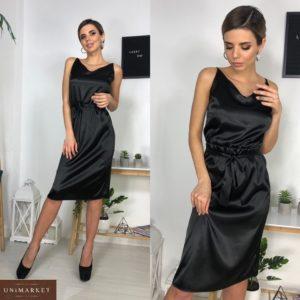 Купить по низким ценам черное атласное платье миди с поясом для женщин