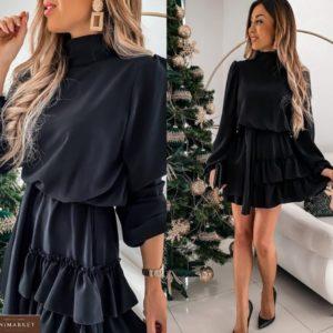 Купить черное женское закрытое платье (размер 42-50) с рюшами и длинным рукавом в интернете