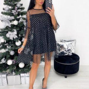 Заказать черного цвета платье мини для женщин с сеткой в горошек по низким ценам
