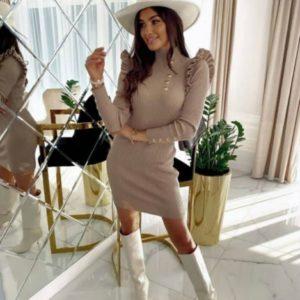 Заказать женское платье беж под шею из трикотажа мустанг недорого