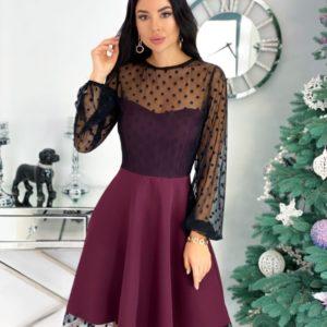 Приобрести марсала женское коктейльное платье с сеткой в горошек (размер 42-48) онлайн