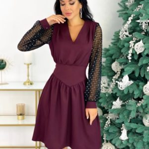 Приобрести цвета марсала платье с длинными рукавами-сеткой (размер 42-48) для женщин недорого