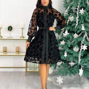 Заказать черного цвета элегантное женское платье с напылением флок (размер 42-48) дешево